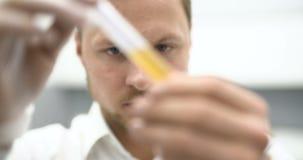 Wetenschapper die een behandeling vinden stock videobeelden