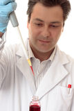 Wetenschapper die in laboratorium werkt stock afbeelding