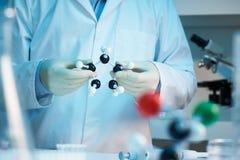 Wetenschapper die moleculair model houdt Stock Foto's
