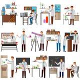 Wetenschapper die onderzoek en experiment in wetenschapslaboratorium doen royalty-vrije illustratie