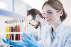 Wetenschapper die op reageerbuizen kijken Stock Foto