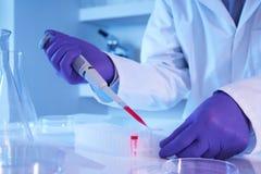 Wetenschapper die pipet in laboratorium met behulp van Stock Foto