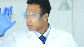 Wetenschapper die reactie in horlogeglas bestuderen in laboratorium, beschermende glazen stock video