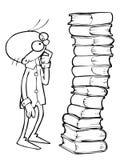 Wetenschapper en boeken royalty-vrije illustratie