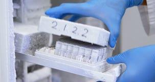 Wetenschapper het openen reageerbuisdoos van diepvriezer 4k stock footage