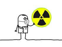 Wetenschapper met masker & radioactiviteit Royalty-vrije Stock Afbeelding