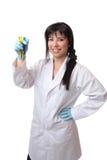 Wetenschapper met reageerbuizen stock foto
