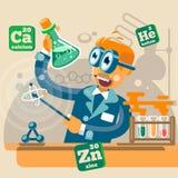 Wetenschapper op glazen in chemielaboratorium Vector Stock Afbeelding