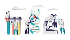 Wetenschapper Team Research Medicine in Chemisch Laboratoriumbeeld Het wijfje in Medische Toga zit op Reageerbuis met Tablet stock illustratie