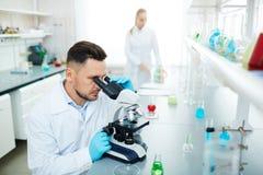 Wetenschapper Working in Modern Chemisch Laboratorium royalty-vrije stock afbeelding