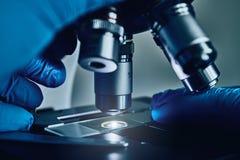 Wetenschapperhanden met microscoop royalty-vrije stock foto
