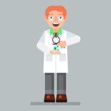 Wetenschapperkarakter die glazen en laboratoriumlaag met meer magnifier micro-organisme dragen, Stock Foto