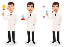 Wetenschappermens Knap beeldverhaalkarakter vector illustratie