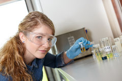 Wetenschapperonderzoek naar een laboratoriummilieu royalty-vrije stock afbeeldingen