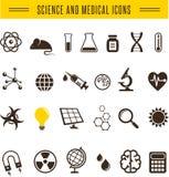 Wetenschapperpak - Onderzoek, Bio en chemiepictogrammen Royalty-vrije Stock Foto's
