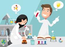 Wetenschappers die die experiment doen door laboratoriummateriaal wordt omringd royalty-vrije illustratie