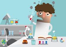 Wetenschappers die die experiment doen door laboratoriummateriaal wordt omringd vector illustratie
