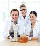 Wetenschappers die in een laboratorium werken royalty-vrije stock afbeelding