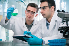 Wetenschappers die in een onderzoeklaboratorium werken stock foto