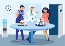 Wetenschappers die Experiment Vlakke Illustratie bespreken vector illustratie