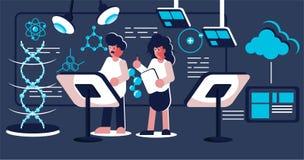 Wetenschappers die het onderzoek naar het laboratorium doen royalty-vrije illustratie