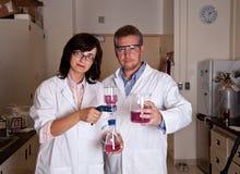 Wetenschappers die labware houden Stock Foto