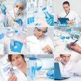 Wetenschappers die in onderzoekfaciliteit of laboratorium werken royalty-vrije stock afbeeldingen