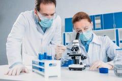 wetenschappers die in witte lagen, medische handschoenen en beschermende brillen wetenschappelijk onderzoek samen maken royalty-vrije stock afbeeldingen