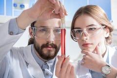 Wetenschappers met chemische steekproef royalty-vrije stock afbeeldingen
