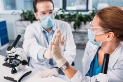 wetenschappers in witte lagen, medische maskers en beschermende brillen die hoogte vijf geven aan elkaar stock foto's