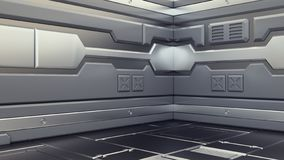Wetenschaps achtergrondfictiebinnenland die sc.i-FI ruimteschipgangen, 3D illustratie teruggeven royalty-vrije illustratie