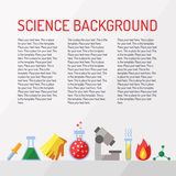 Wetenschaps vectorachtergrond met plaats voor uw tekst Chemie, Fysica en Biologie Modern vlak ontwerp Stock Fotografie