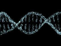 Wetenschapsachtergrond met DNA-molecules van water op zwarte 3d Stock Fotografie