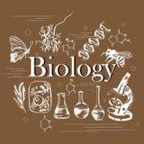 Wetenschapsconcept de biologie met hand getrokken elementen Stock Afbeeldingen