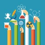 Wetenschapsconcept, fysica, chemie, biologie vlak ontwerp royalty-vrije illustratie