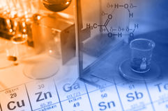 Wetenschapslaboratorium met chemisch thema Stock Fotografie
