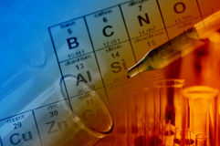 Wetenschapslaboratorium met chemisch thema Stock Foto