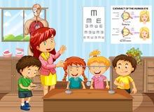 Wetenschapsleraar en studenten in klaslokaal stock illustratie