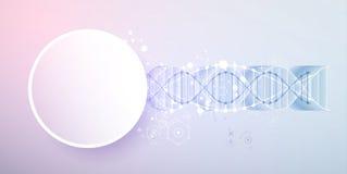 Wetenschapsmalplaatje, behang of banner met een 3D DNA-molecules Stock Afbeelding