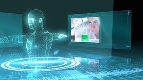Wetenschapsmontering met de vitruvian grafische mens stock footage