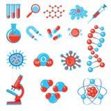 In wetenschapspictogrammen De Biologie en de Geneeskunde van de fysicachemie Stock Fotografie