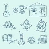 Wetenschapspictogrammen geplaatst de chemie van het schoollaboratorium Stock Foto