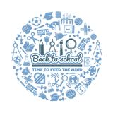 Wetenschapssymbolen in cirkelvorm Diverse beeldverhaalachtergrond met beelden van school stock illustratie