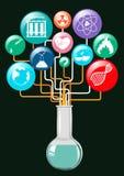 Wetenschapssymbolen en glascontainer stock illustratie