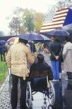 Weteran w wózku inwalidzkim, Wietnam pomnik, Waszyngton, d C obrazy stock