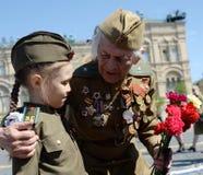 Weteran Wielki Patriotyczny Wojenny Yevgeny Shalashnikov na placu czerwonym podczas świętowania zwycięstwo dzień na placu czerwon Obraz Stock