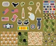 Weterana dnia kolekcja Militarni symbole i Bezszwowi kamuflaży wzory Obraz Stock