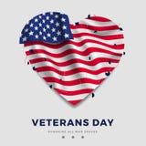 Weterana dnia plakat, realistyczna flaga amerykańska z fałdami w formie serca i tekst na szarym tle, i 3d Zdjęcie Stock