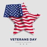 Weterana dnia plakat, realistyczna flaga Ameryka z fałdem w formie gwiazdy i tekst na szarym tle, i 3d Zdjęcia Stock