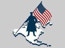 Weterana dzień Mężczyzna z USA flaga, wojskowy Kontynent Północna Ameryka Honoruje wojennych bohaterów weteranów ilustracja wektor
